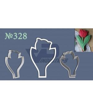 """Вырубка №328 """"Тюльпан со стеблем и листиками"""""""