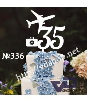 """Топпер №336 """"35 с самолетом и чемоданом"""""""