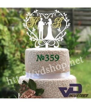 """Топпер №359 """"Жених и невеста с инициалами"""""""