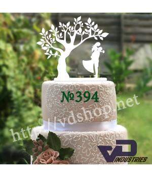 """Топпер №394 """"Дерево с женихом и невестой"""""""