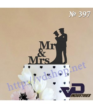 """Топпер №397 """"Mr &Mrs с силуэтом жениха и невесты"""""""