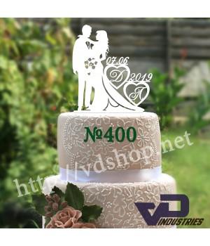 """Топпер №400 """"Жених и невеста с инициалами и датой"""""""