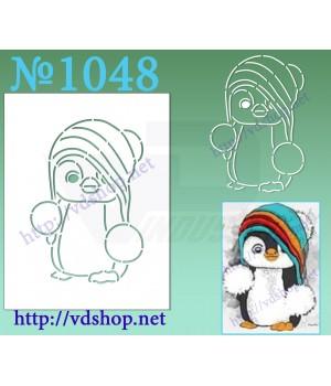 """Трафарет многоразовый контурный №1048 """"Пингвин в шапке"""""""