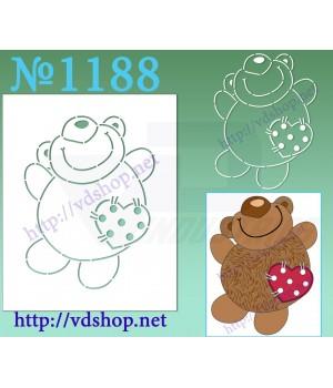 """Трафарет многоразовый контурный №1188 """"Счастливый медведь"""""""