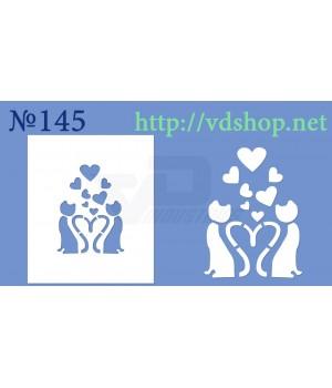 """Трафарет для расписного пряника №145  """"Кошечки с сердцами"""""""