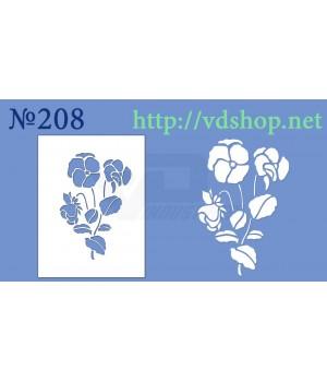 """Трафарет для пряника и торта №208 """"Цветы мака"""""""