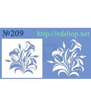 """Трафарет для пряника и торта №209 """"Цветы лилии"""""""