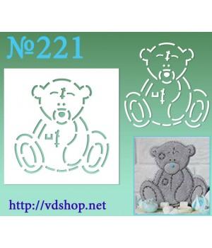 """Трафарет для расписного пряника №221 """"Мишутка"""""""