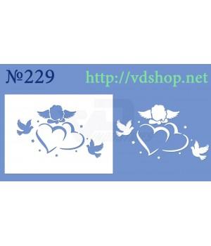 """Трафарет для пряника и торта №229 """"Ангелочек на сердцах с голубями"""""""