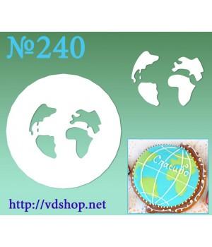 """Трафарет для расписного пряника №240 """"Карта глобуса"""""""