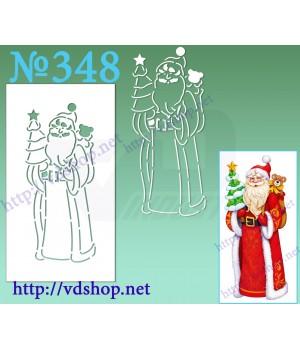 """Трафарет многоразовый контурный №348 """"Дед Мороз с мишкой и елочкой"""""""