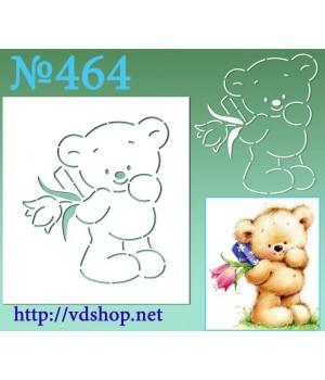 """Трафарет многоразовый контурный №464 """"Мишка с подарком и тюльпаном"""""""