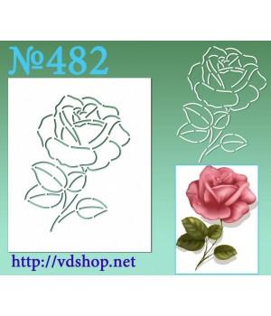 """Трафарет многоразовый контурный №482 """"Роза открытая с листиками"""""""