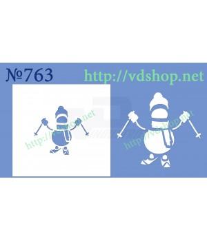 """Трафарет многоразовый №763 """"Снеговик на лыжах"""""""