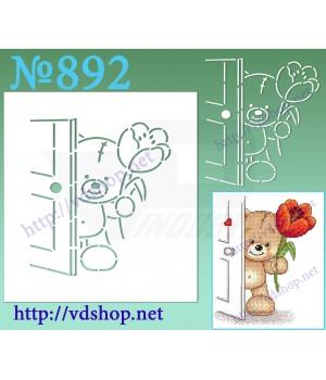 """Трафарет многоразовый контурный №892 """"Мишка за дверью"""""""