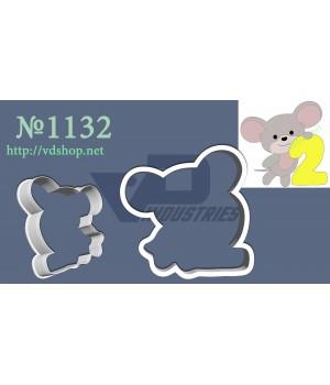 """Вырубка №1132 """"Мышка с цифрой 2"""""""