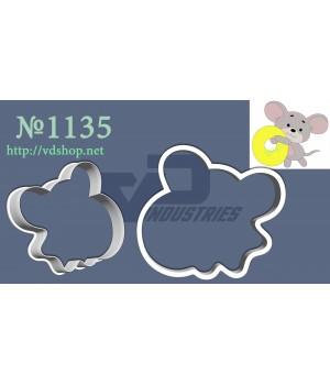"""Вырубка №1135 """"Мышка с цифрой 0"""""""