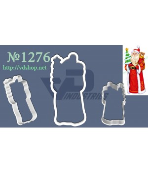 """Вырубка №1276 """"Дед Мороз с мишкой и елочкой"""""""