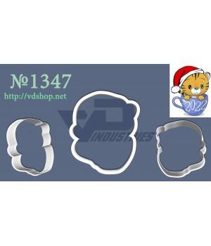 """Вырубка №1347 """"Тигрёнок в новогодней шапке сидит в чашке"""""""