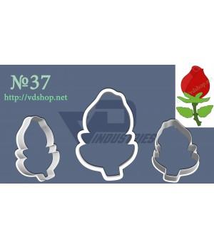 """Вырубка №37 """"Роза с листиками"""""""