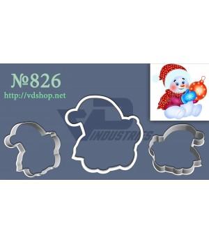 """Вырубка №826 """"Снеговичок с новогодней игрушкой"""""""
