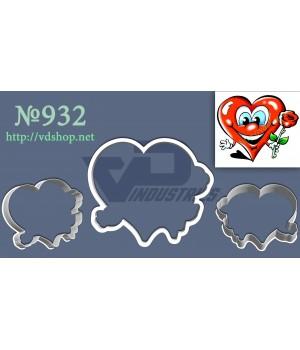 """Вырубка №932 """"Счастливое сердце с розой"""""""